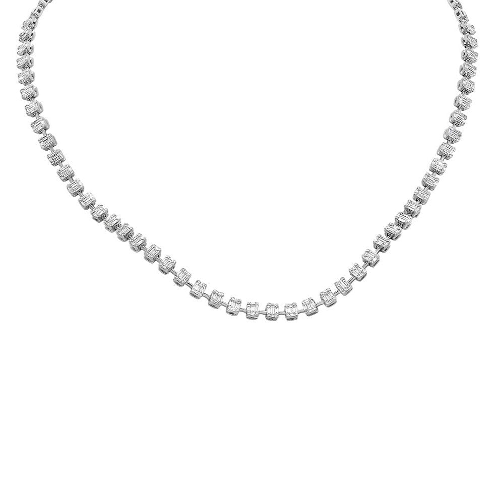 Diamond Baguette Cluster Illusion Necklace