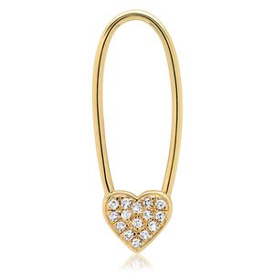 Single Diamond Heart Safety Pin Earring