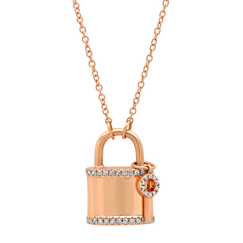 Diamond Padlock and Key Pendant Necklace