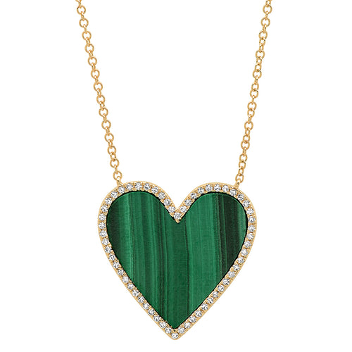 Malachite Heart with Diamond Frame Necklace