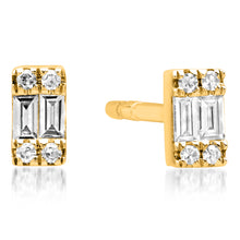 Rectangular Diamond Baguette Cluster Petite Stud Earrings