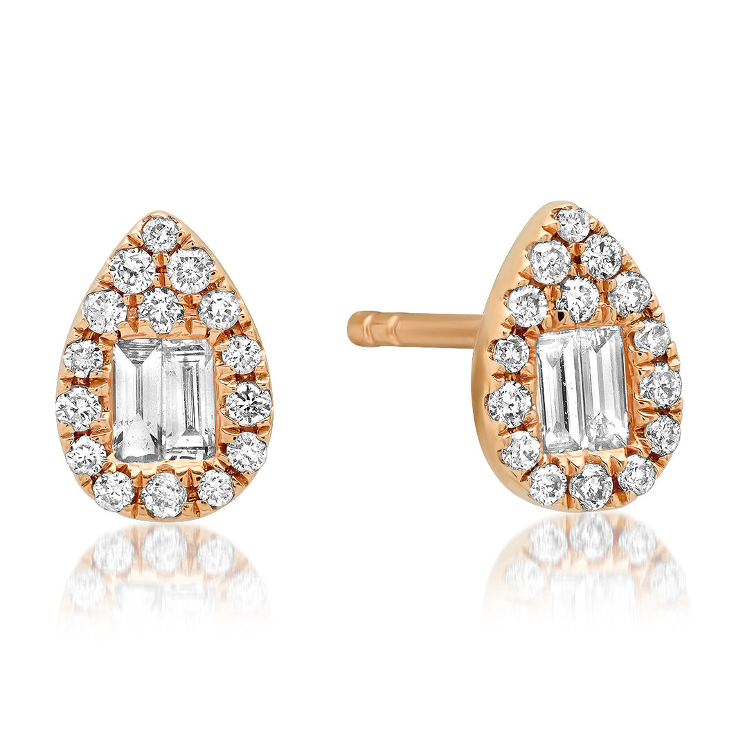Baguette & Round Diamond Cluster Teardrop Stud Earrings