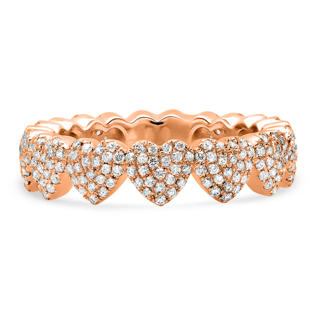 Pave Diamond Heart Eternity Band