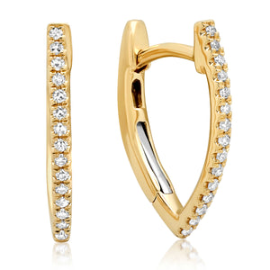 Diamond V Huggie Hoop Earrings