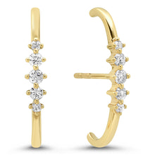 Five Diamond Lobe Cuff Earrings