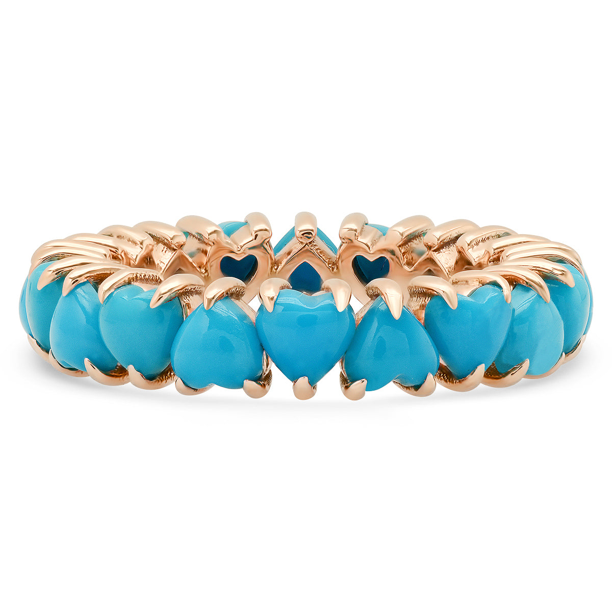 Turquoise Heart Eternity Band Ring
