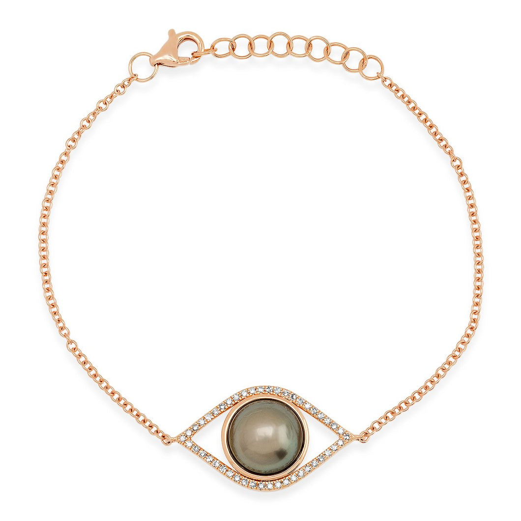 The Ashleigh Bergman Collective x Samira 13 Diamond & Pearl Evil Eye Bracelet