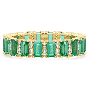 Emerald Cut Emeralds with Diamond Accents Eternity Band Ring