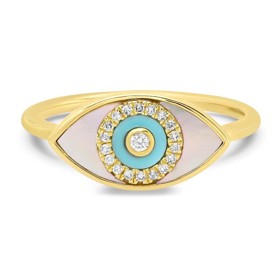 Mother Of Pearl & Turquoise Evil Eye Ring
