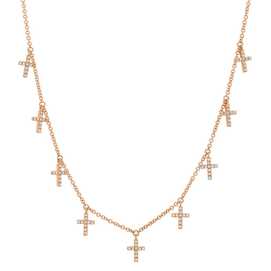 Multi Diamond Cross Dangles Necklace