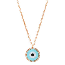 Turquoise & Mother of Pearl Inlay with Diamond Frame Necklace