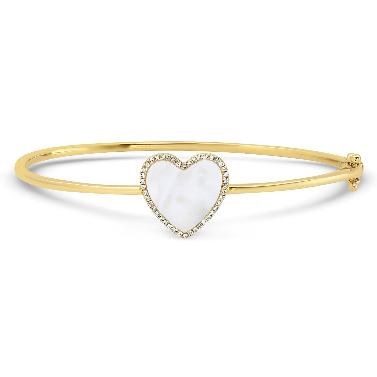 Inlay Heart with Diamond Frame Hinge Bangle