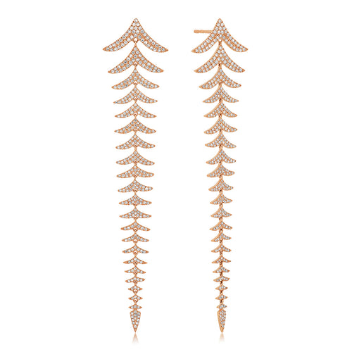 Pave Diamond Chevron Statement Earrings