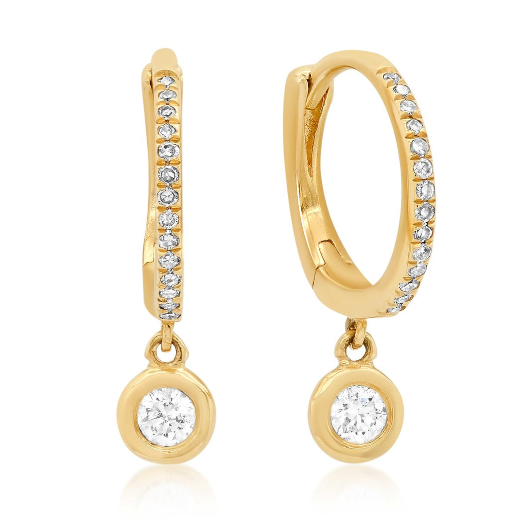 Diamond Huggie Earrings with Bezel Diamond Drop