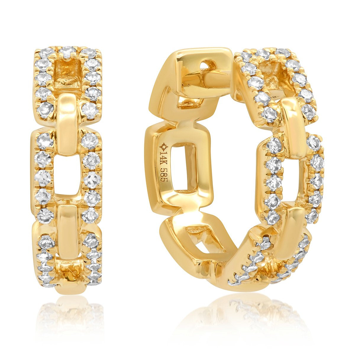 Diamond Chainlink Huggie Earrings