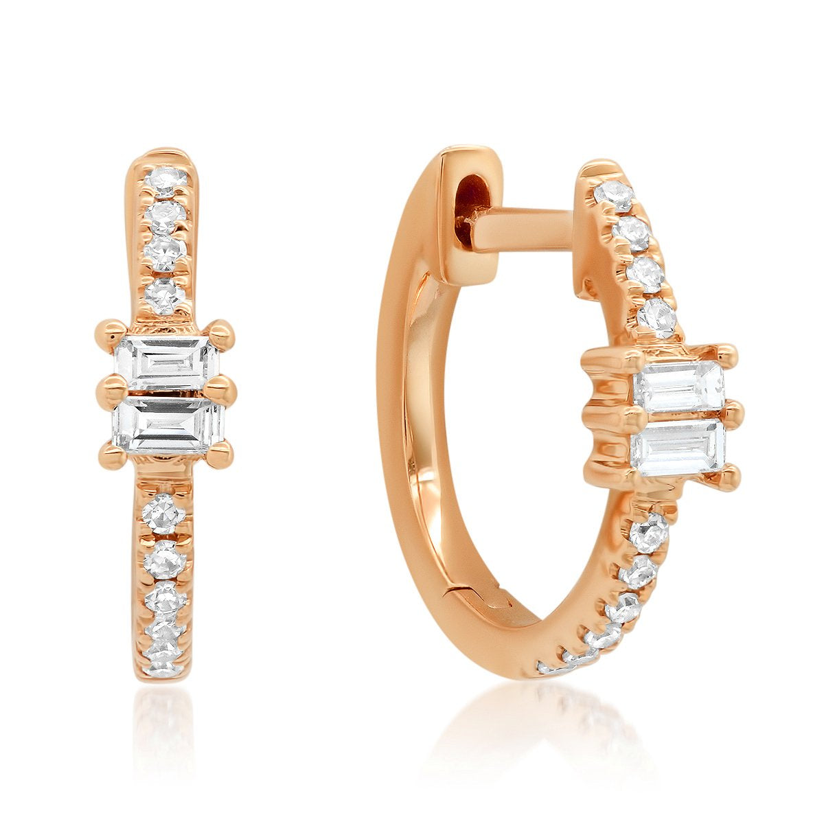 Diamond Huggie Earrings with Double Baguette Accents