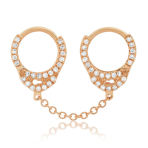 Single Diamond Handcuff Earring