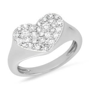 Diamond Smushed Heart Pinky Ring