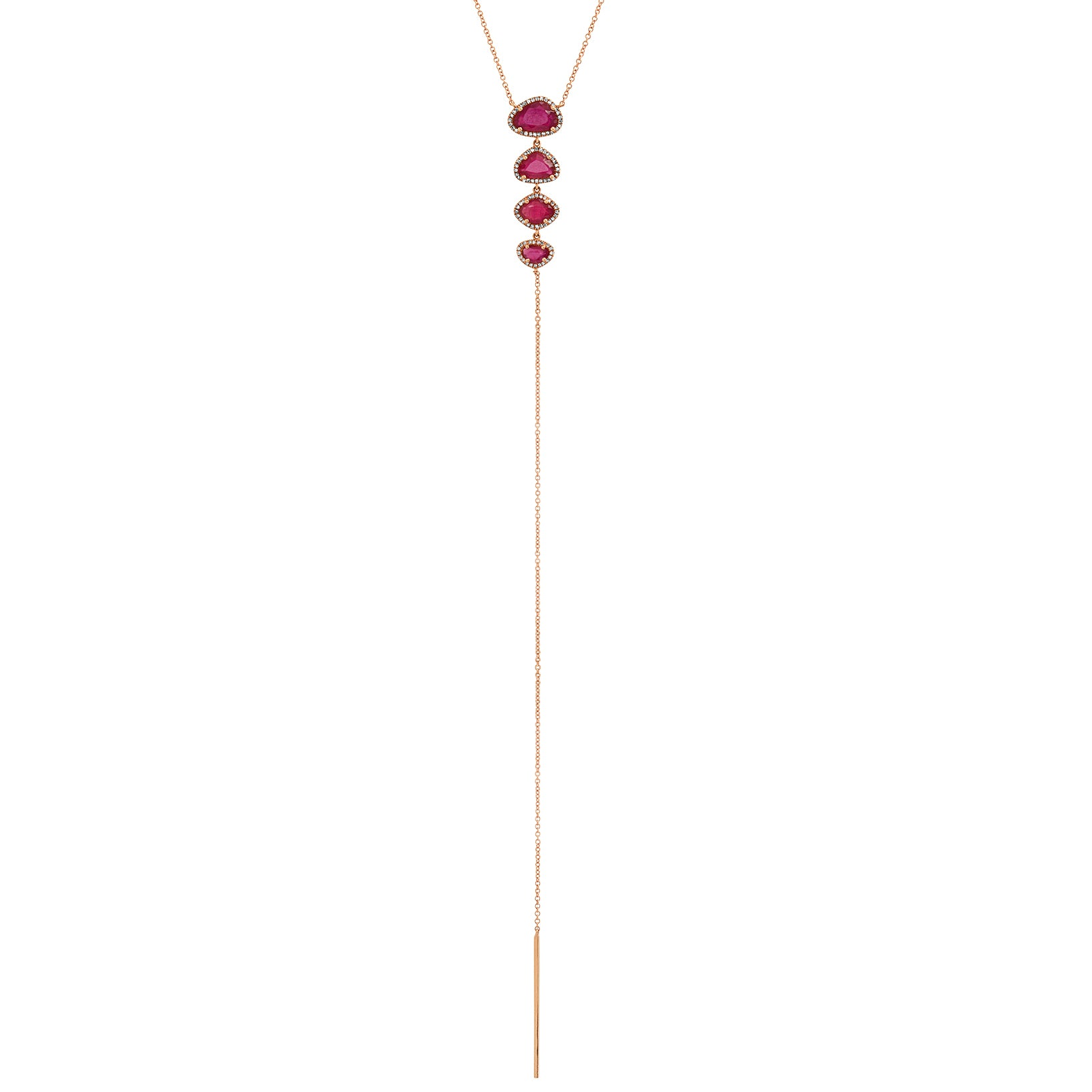 Organic Shape Ruby & Diamond Drop Lariat Necklace