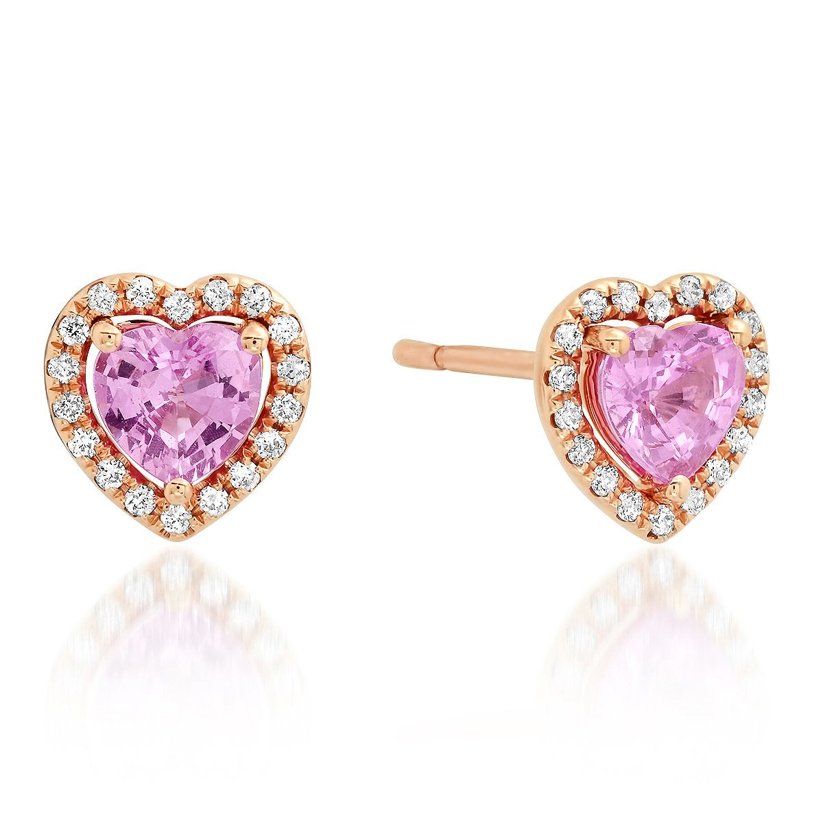 Pink Sapphire & Diamond Heart Stud Earrings