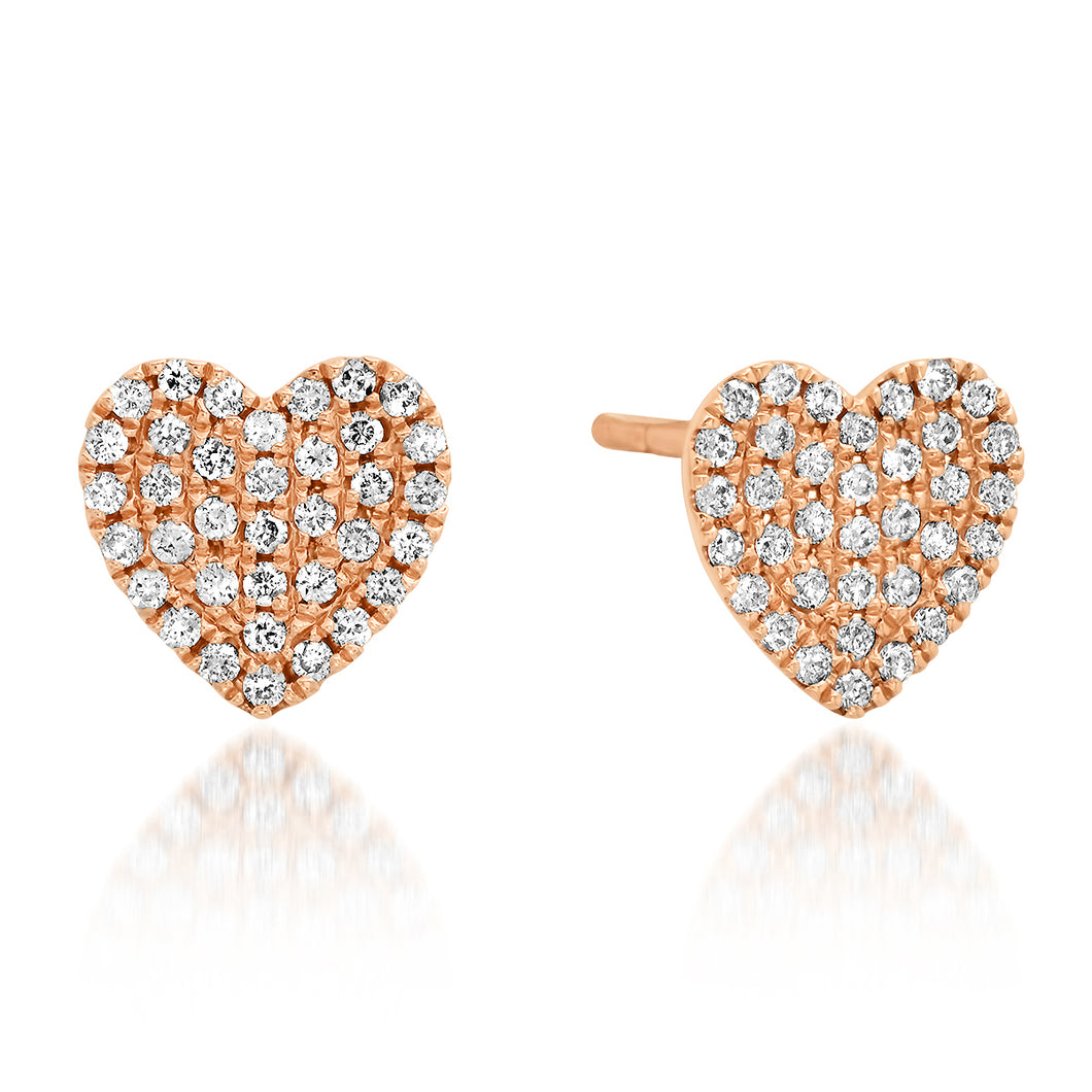Pave Diamond Puffy Heart Stud Earrings