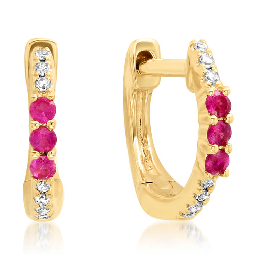 Delicate Diamond & Ruby Huggies Stud Earrings