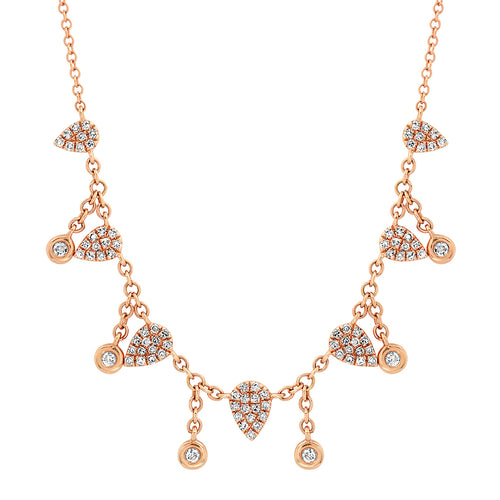 Pave Diamond Teardrops with Diamond Bezel Shakers Necklace