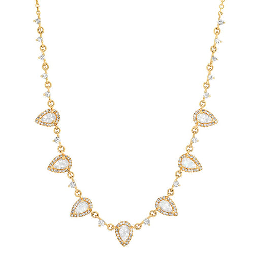 Diamond and Multi Teardrop Moonstone Lovers Necklace