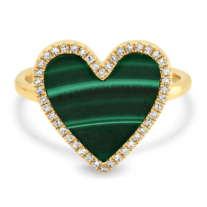 Malachite Heart with Diamond Frame Ring