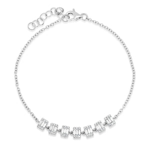 Diamond Baguette Clusters on Delicate Chain Bracelet