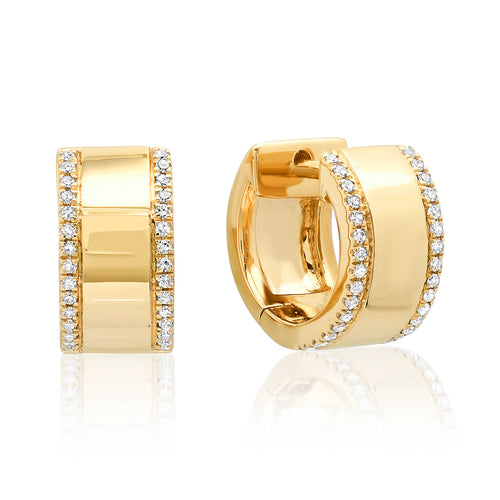 Wide Huggie Earrings with Diamond Border