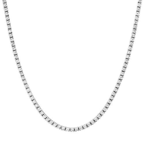 Perfect Four Prong Diamond Riviera Tennis Necklace