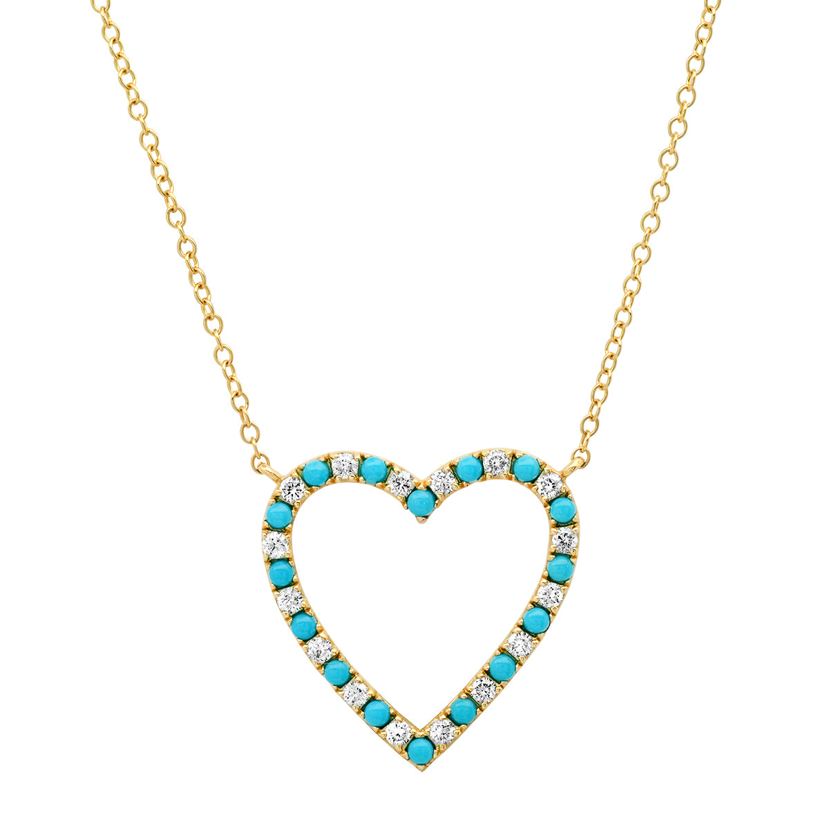 Diamond and Turquoise Open Heart Pendant Necklace
