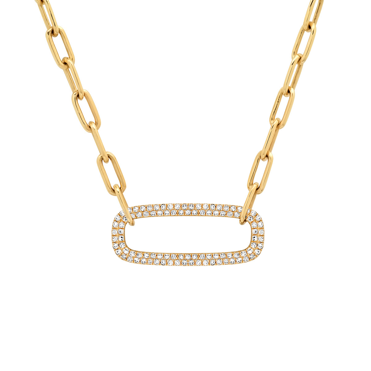 Link Chain with Jumbo Oval Pave Diamond Link Accent Necklace