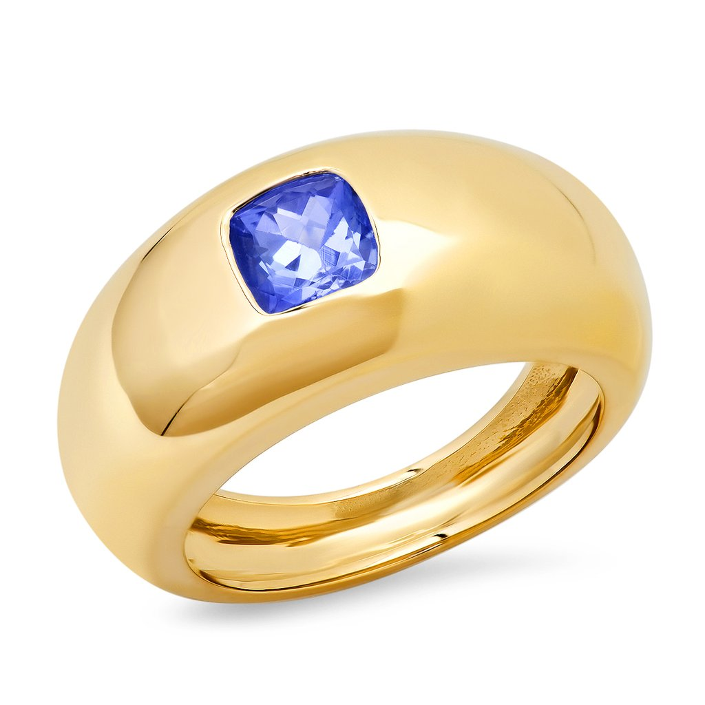 Cushion Cut Blue Sapphire Gem Dome Ring