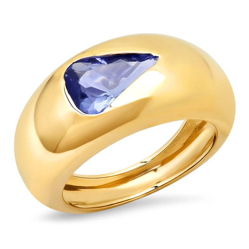Pear Shaped Tanzanite Gem Dome Ring