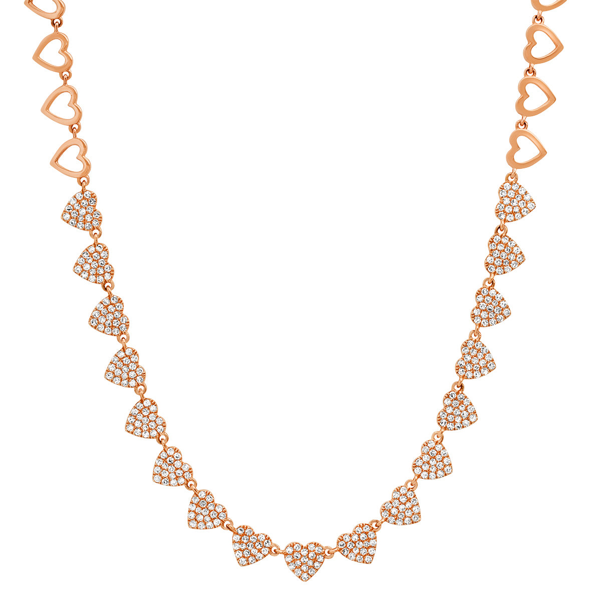 Pave Diamond Love of Hearts Necklace