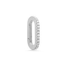 Small 14k Pave Diamond Oval Charm Clip Holder Enhancer