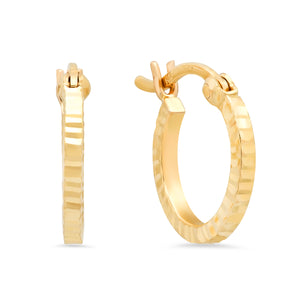 Gold Diamond Cut Sparkle Huggie Earrings