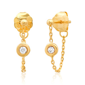 Diamond Bezel Chain Front to Back Wrap Stud Earrings