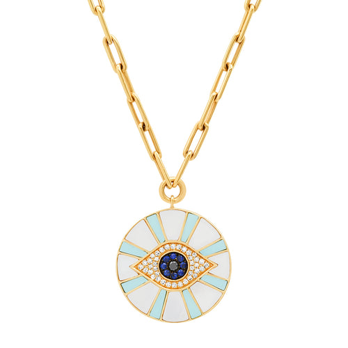Diamond Evil Eye Coin with Mother of Pearl & Turquoise Inlay on Paperclip Chain Necklace