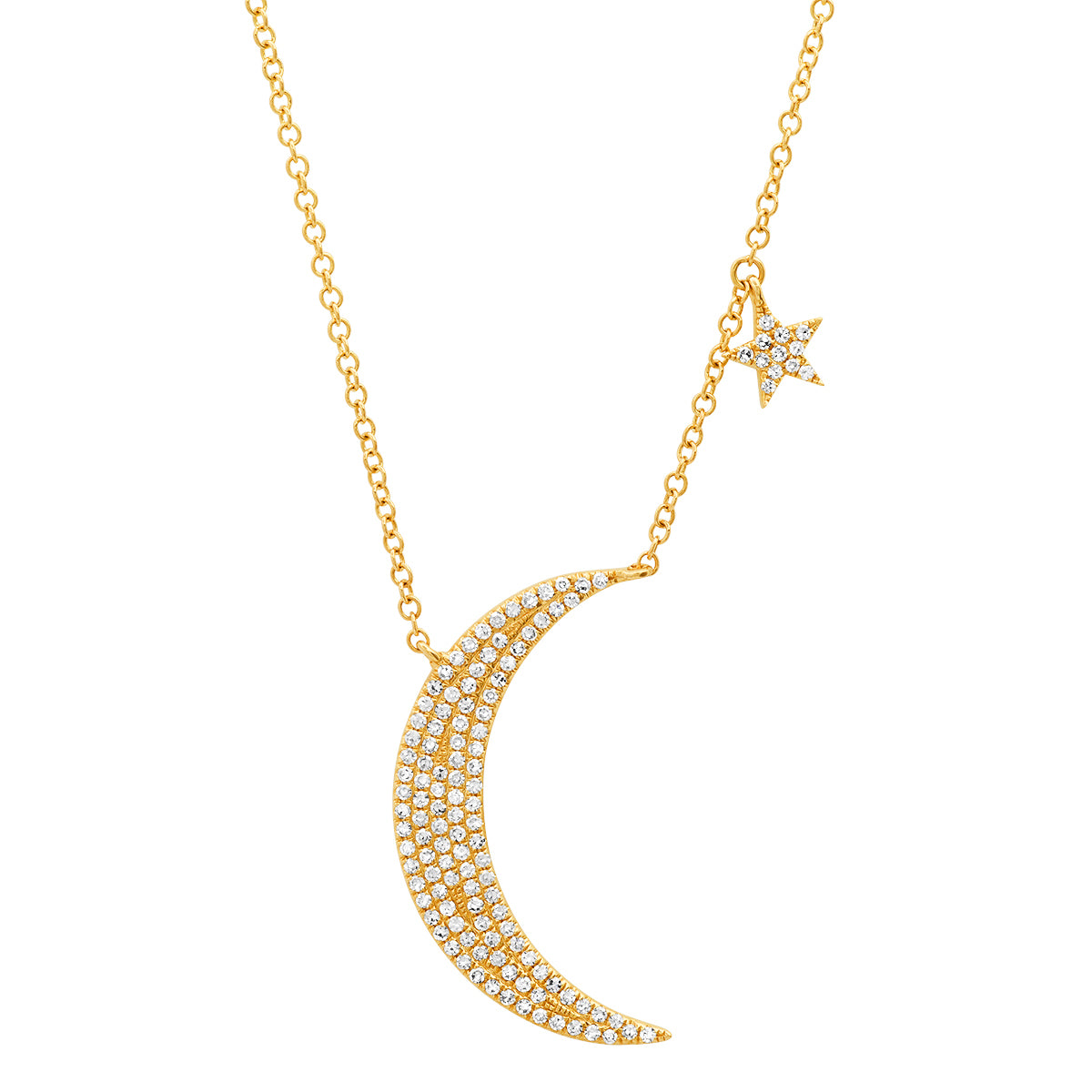 Diamond Crescent Moon with Star Dangle Necklace