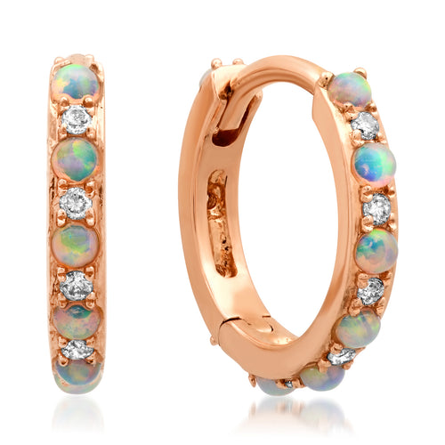 Opal and Diamond Huggie Earrings