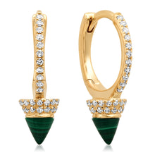 Diamond Huggie Earrings with Turquoise or Malachite Spike