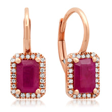 Emerald Cut Ruby with Diamond Halo Hinge Back Earrings