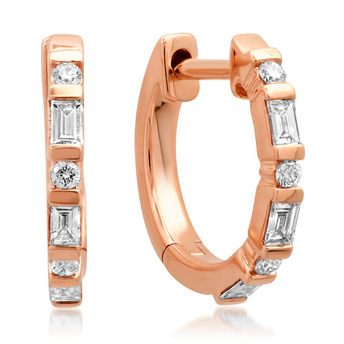 Baguette & Round Diamond Everyday Sparkle Huggie Earrings
