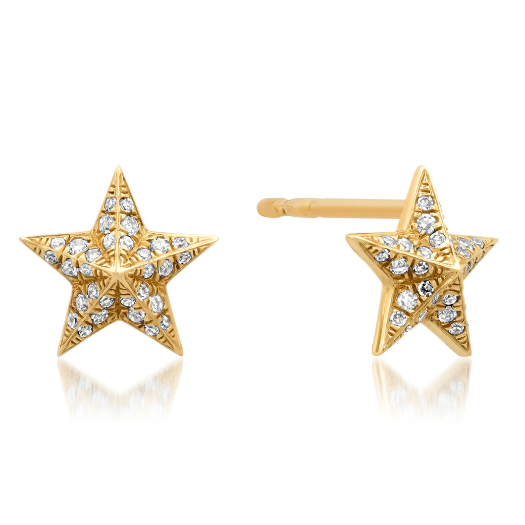 Domed Diamond Star Stud Earrings