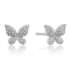 Pretty Pave Diamond Butterfly Stud Earrings