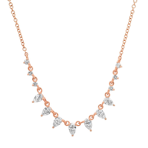 Delicate Graduated Pear Shaped Diamonds Necklace
