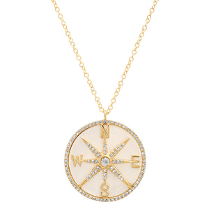Mother of Pearl and Diamonds Compass Necklace